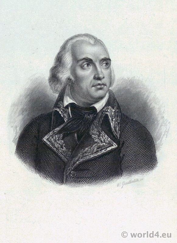 Portrait Jean-Charles Pichegru. French Revolution History. Directoire costume. French general.