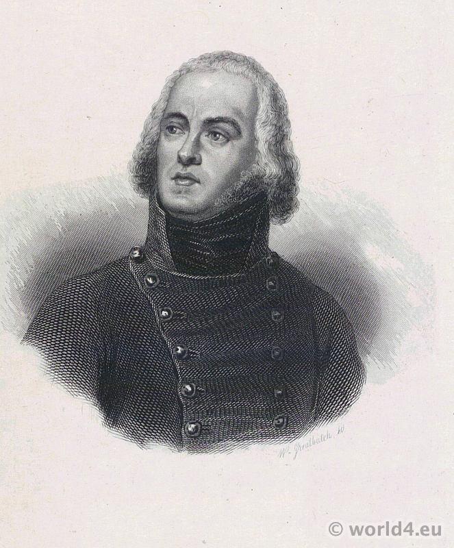 French General Louis-Lazare Hoche. Portrait French Revolution History. Directoire costume