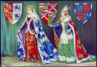 Margaret Princess of Wales. Middle ages fashion history. 15th century. Fashion Burgundy court dresses. Hennin. Headdresses