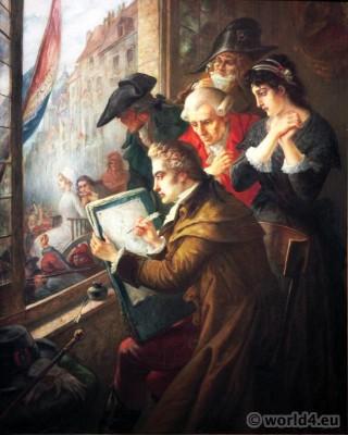 Joseph-Emmanuel van den Büssche, Marie Antoinette, guillotine, Jacques-Louis David, French, Revolution
