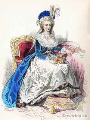 Marie Antoinette. Reine de France. Portrait by Élisabeth Vigée-Lebrun. Rococo costume and fashion