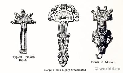 Merovingian, Circular, Fibula, Frankish, jewelry,Mosaik,