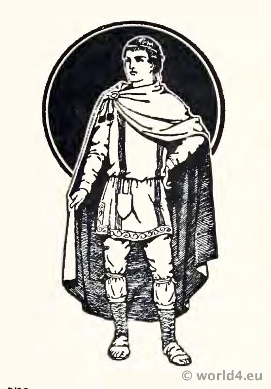 Frankish Merovingian noble costume 4th century. Court of a Frankish king