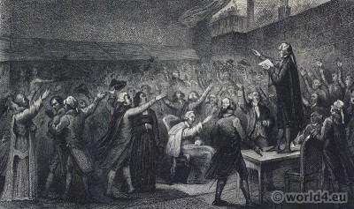 Tennis court oath. le serment du Jeu de paume. French revolution costumes. Constituent National Assembly