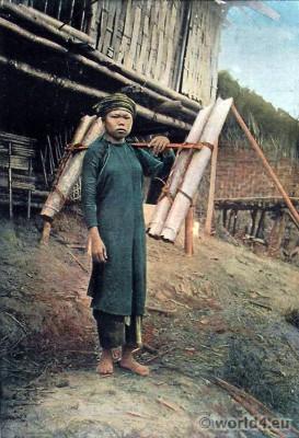 Water carrier. Tonkin. Traditional Vietnamese Costume. Porteuse d'eau