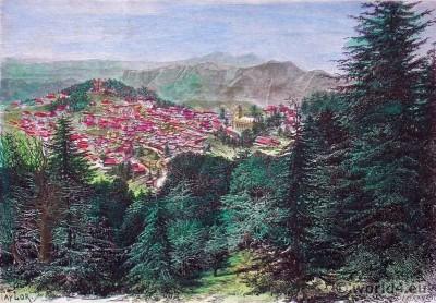 View on Simla India. Himalaya landscape. Capital of Himachal Pradesh.