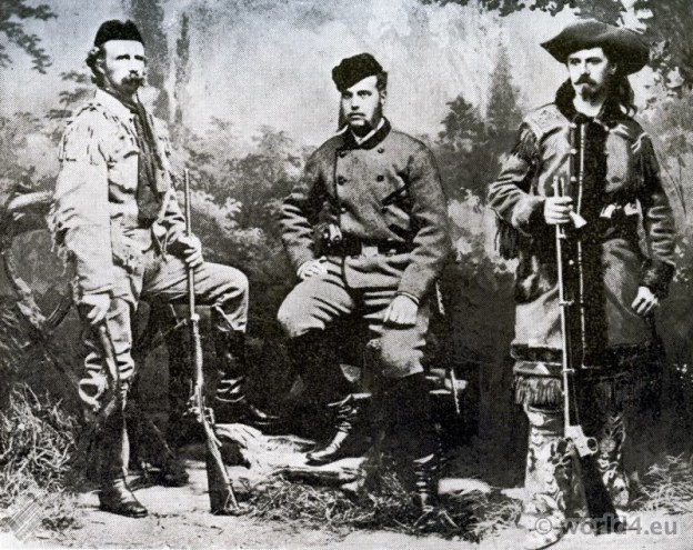 Western costumes. cowboy dress. General Custer, Grand Duke Alexis and Buffalo Bill.