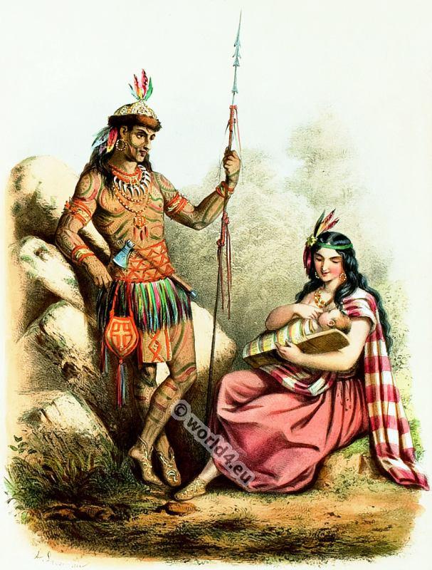 Costumes Sauvages. Alexandre Lacauchie. Les nations. Album des Costumes De Tous les Pays.