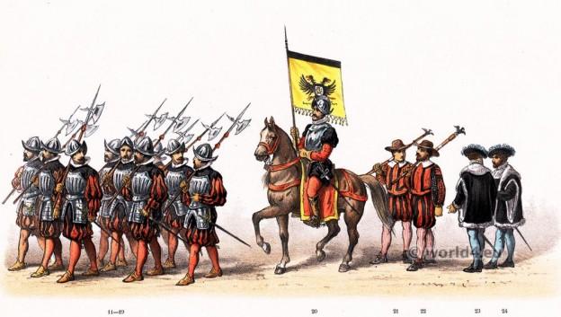 16th century military costumes. Thomas van Tryst, Mayor of Nijmegen. Emperor Charles V. Renaissance fashion period.
