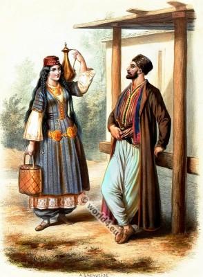 Traditional Crimean Tatars costumes. Russia national folk costumes.