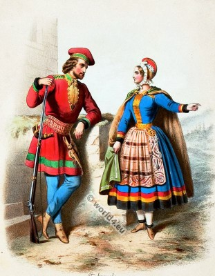 Traditional Norway costumes. Norwegian national folk costume.