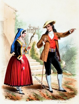 Traditional Basque costumes. French national folk costume.