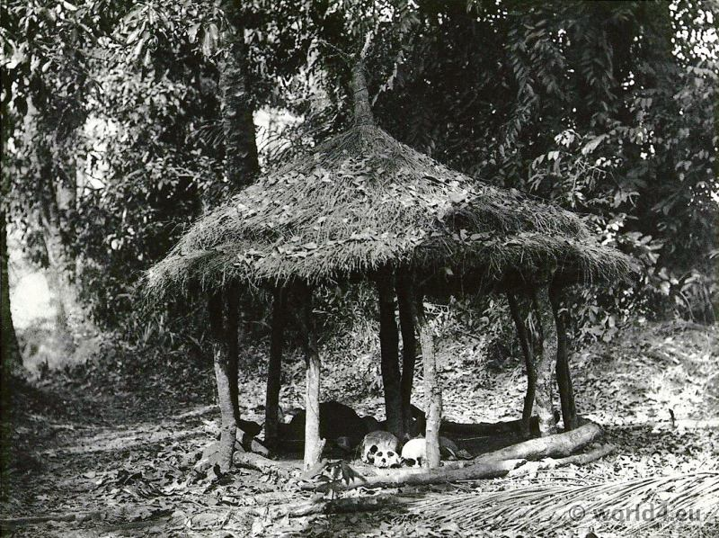 West African ethnic group Baga tribe fetish temple. Lower Guinea. Koba, Fore, Sitemu.