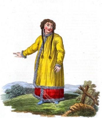 Barabintzians and Baschkirians. Russia folk dress. Traditional Russian national costume