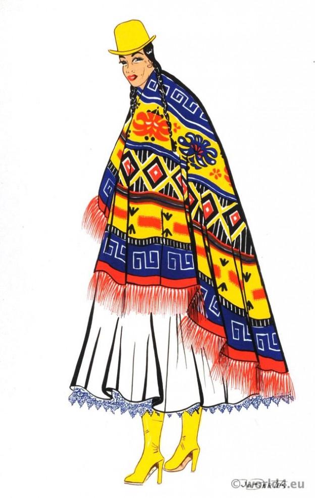 Bolivian chola. Native indian costume. Latin american folk dress.