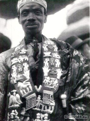 African Chief in ceremonial dress, Gold Coast.