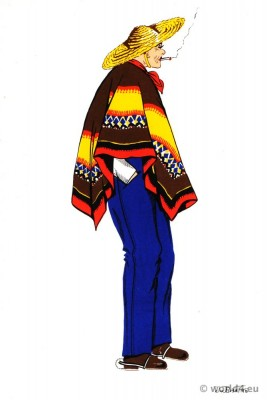Traditional Huaso costume from Chile. Latin american folk dress.