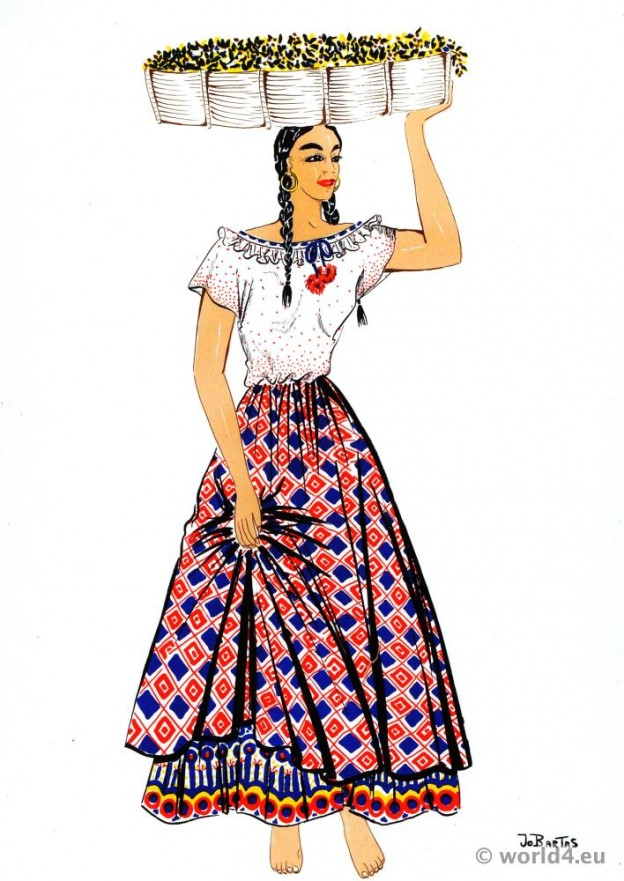 Coffee picker from Costa Rica in traditional clothes. Traditional Costa Rica Folk Costume
