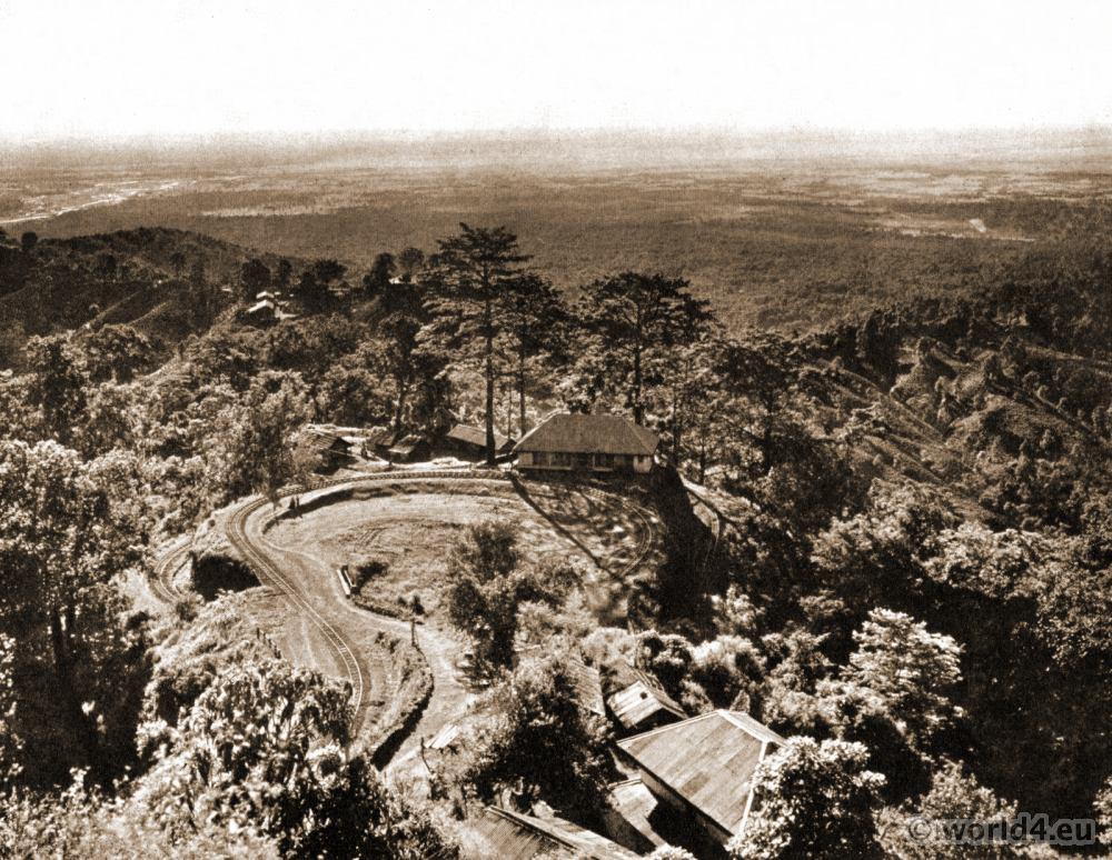 Double Loop. Darjeeling Railway at Chunabhati. Darjeeling India. View on Himalaya. J. Burlington Smith.