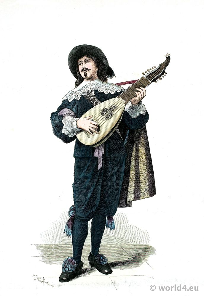 Dutch lute player. 17th century costume. Baroque period fashion