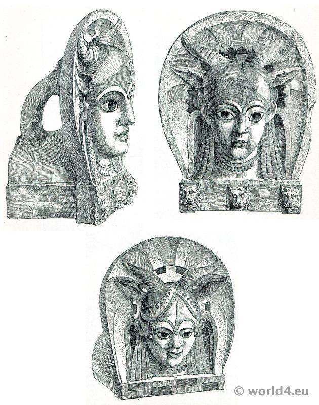 Antiques, Etruscan, ceramics, Antefixes, Campana, collections,
