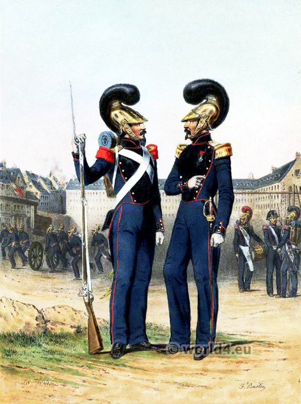 Fire Brigade. Officer and soldier. French Army uniforms. France Military costumes