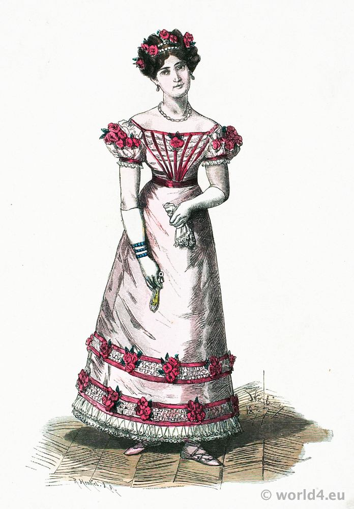 French second empire fashion. Parisian Ball Gown. Franz Lipperheide