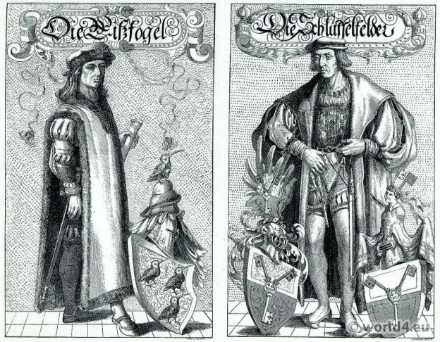 German 16th century. Heraldic costumes. Renaissance dresses.