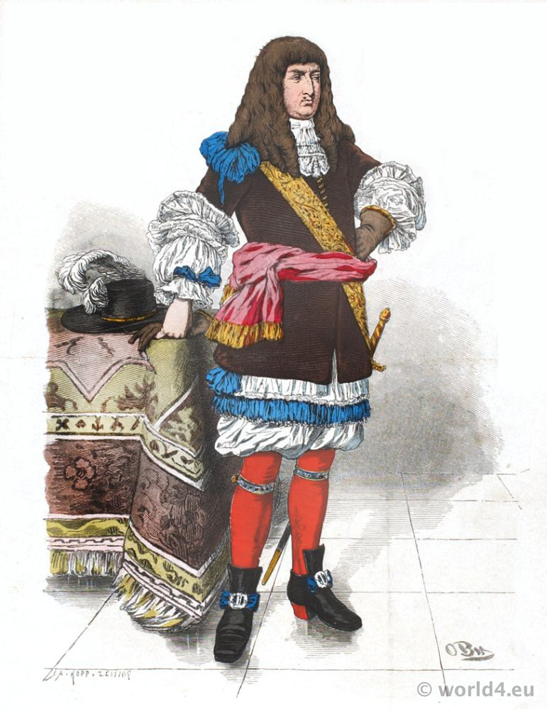 German baroque aristocracy costume. Franz Lipperheide. 17th century Louis XIV clothing. Allonge wig