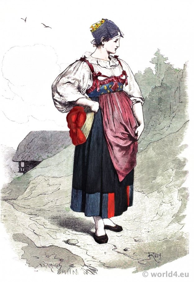Traditional German national costume. Black Forest folk dress. Franz Lipperheide