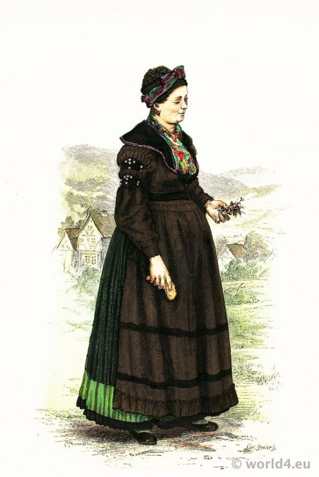 Traditional German national costume. Girl in folk dress from Brotterode, Thuringia. Franz Lipperheide