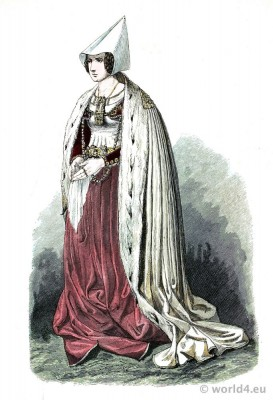 Patrician woman in Gothic costume. Burgundy fashion. Franz Lipperheide