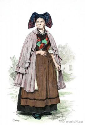 German Thuringia traditional peasant woman costume. Franz Lipperheide