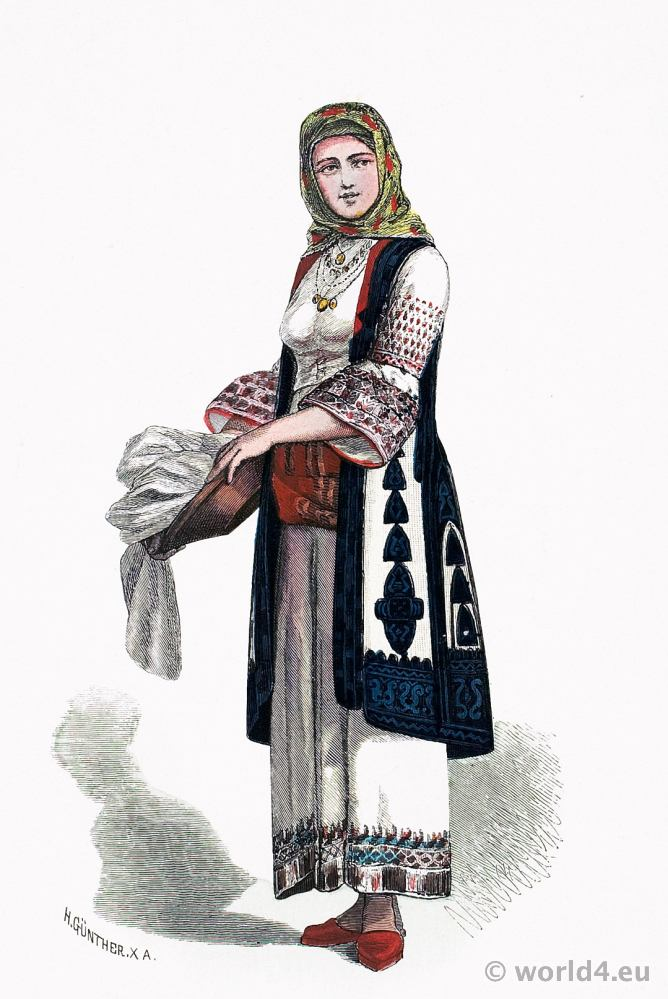 Traditional Greek national costume. Athens folk dress. Franz Lipperheide