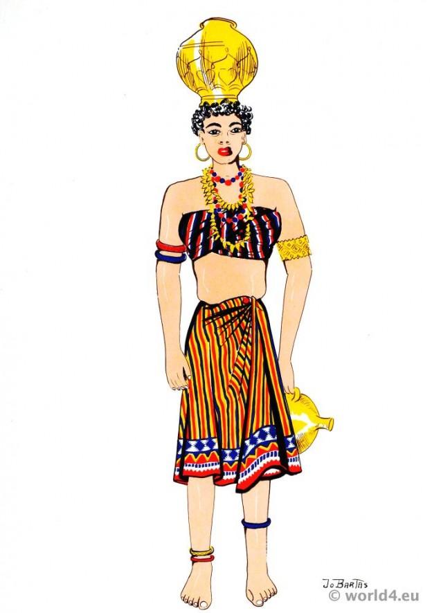 Negroe of Dutch Guiana. Latin american folk dress. Traditional guyana negro costume.