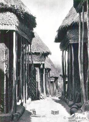 African Mum tribe harem. African architecture. Bamum, Fumban northeast Cameroon.