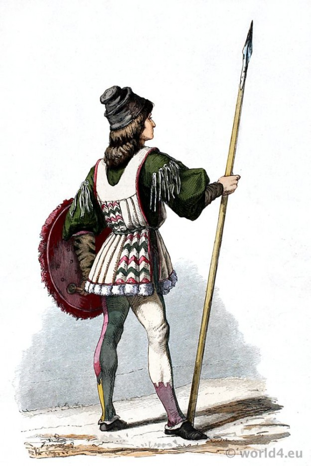 Italian Renaissance costume. Franz Lipperheide. 15th century soldier clothing
