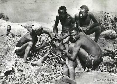 African Jarawa tribe Tatoo, costumes.