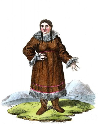 Traditional Kamtschatka folk dress. Russian national costume