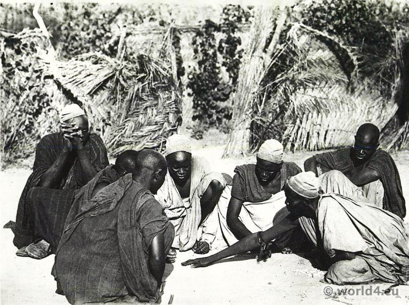 African tribe Kanouri, Kanowri, Yerwa. Kanuris playing dice, Dikwa