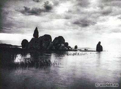 African landscape. Granitic rocks on Lake Victoria.