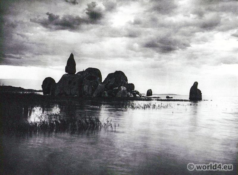 African landscape. Granitic rocks on Lake Victoria.