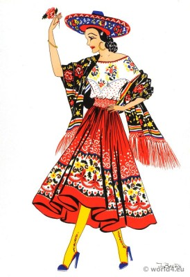 Mexican China Poblana dress.  Jarabe Tapatío. Mexican folkloric clothing