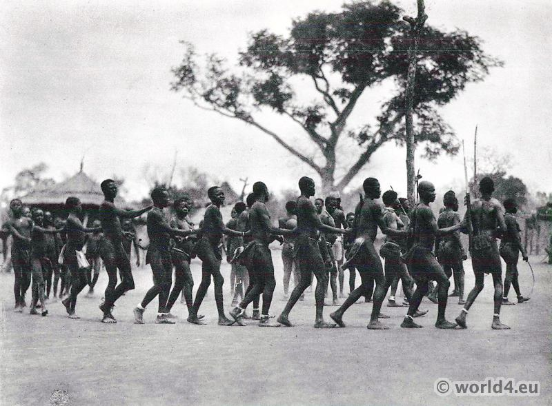 African tribe South Sudan. Moru Dance.