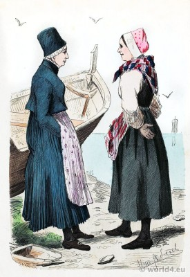 Traditional Norway national costume. Fishermen's wives folk dresses. Franz Lipperheide