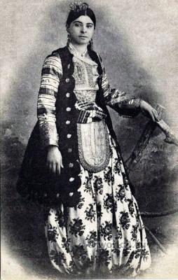 Woman from Shkodra. Traditional Albania costume.