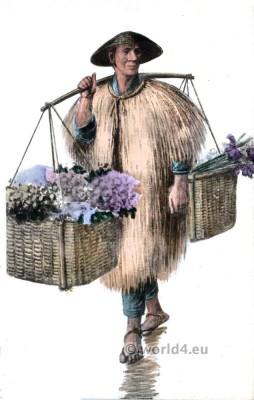 Traditional Japanese costumes. Japanese Flower Seller