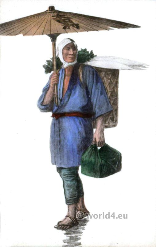 Traditional Japan costume. Native Japan man with Parasol.