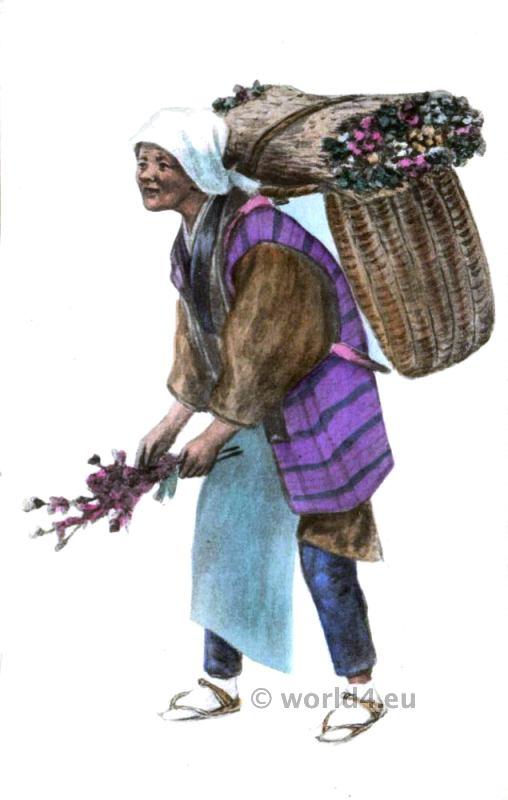 Traditional Japan costume. Native Japanese female flower seller dress.