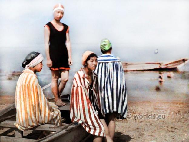 Japan girls at the sea. Kiyoshi Sakamoto. Japan swim costume. Old fashioned bathing suit.